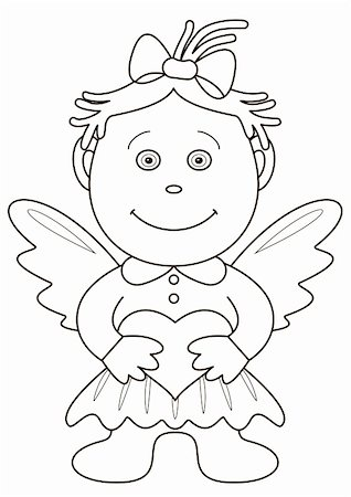 flying heart girl - The girl-angel with wings, holds in hands heart, symbol a love and friendship, contours Stock Photo - Budget Royalty-Free & Subscription, Code: 400-04736001