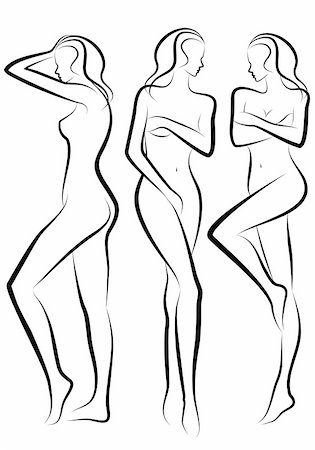 female body silhouettes, vector sketch Stock Photo - Budget Royalty-Free & Subscription, Code: 400-04736488