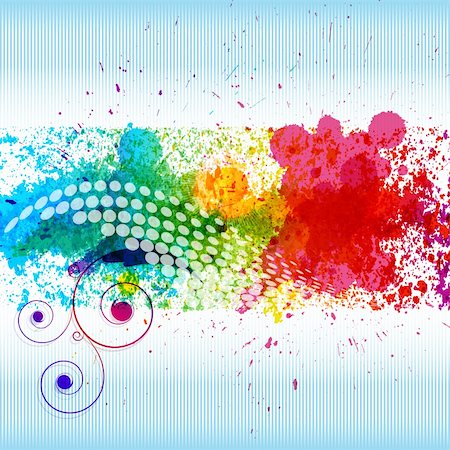 splat - Color paint splashes. Gradient vector background on blue and white stripe background. EPS10 Stock Photo - Budget Royalty-Free & Subscription, Code: 400-04736896