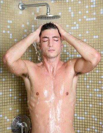 young handsome sexy nude man in shower tile bathroom Stock Photo - Budget Royalty-Free & Subscription, Code: 400-04738478