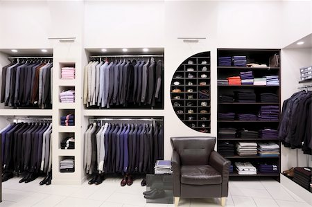 Luxury men's clothes and accessories in modern shop interior Stock Photo - Budget Royalty-Free & Subscription, Code: 400-04739252