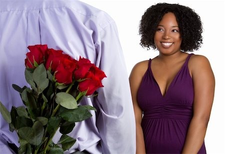 dozen roses - Romantic black couple with roses Stock Photo - Budget Royalty-Free & Subscription, Code: 400-04739797