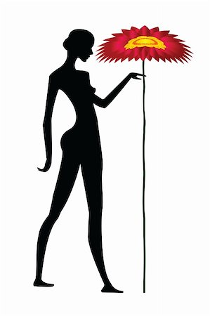 Woman silhouette with flower Stock Photo - Budget Royalty-Free & Subscription, Code: 400-04731243