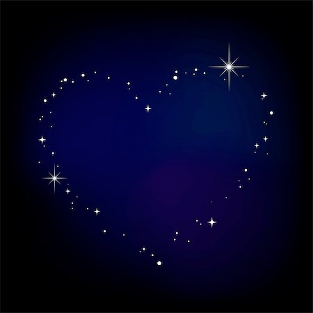 Star heart in night sky Stock Photo - Budget Royalty-Free & Subscription, Code: 400-04731630