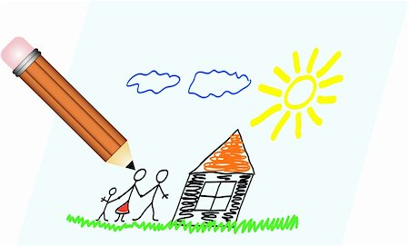 Picture of drawing of family, house, sun and sky Stock Photo - Budget Royalty-Free & Subscription, Code: 400-04732035