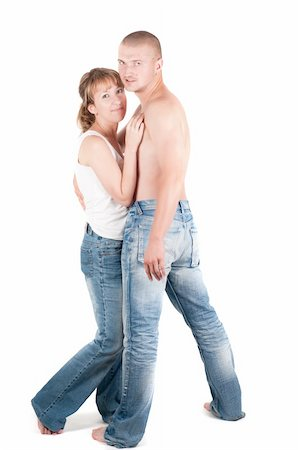 skinny man muscle pose - Studio shot o man and woman isolated on white Stock Photo - Budget Royalty-Free & Subscription, Code: 400-04732323