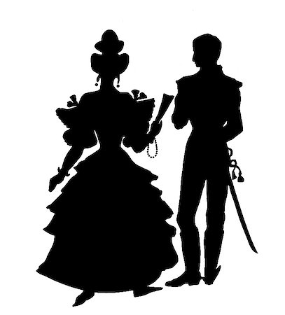 silhouette of the officer with lady on white background Stock Photo - Budget Royalty-Free & Subscription, Code: 400-04732875