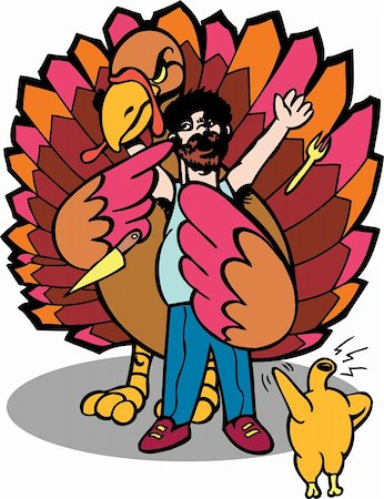 It's Thanksgiving and the turkeys are back for revenge! Stock Photo - Budget Royalty-Free & Subscription, Code: 400-04732949