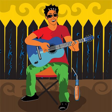 Vector illustration of a young man sitting outdoors playing the guitar with a juice beside him. Stock Photo - Budget Royalty-Free & Subscription, Code: 400-04733539