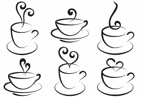 set of steamy coffee and tea cups, vector Stock Photo - Budget Royalty-Free & Subscription, Code: 400-04733777