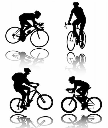 bicyclists silhouettes - vector Stock Photo - Budget Royalty-Free & Subscription, Code: 400-04744671