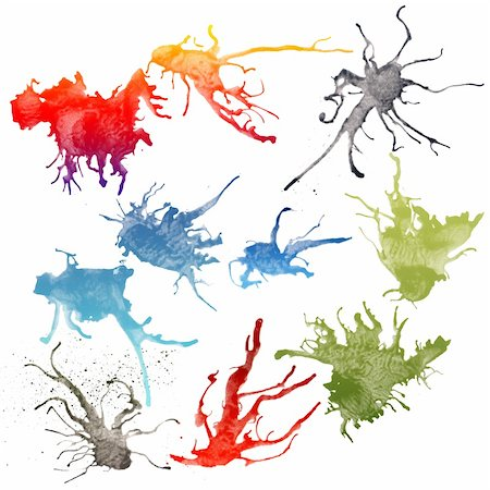 simsearch:400-04454583,k - Colorful bright ink splashes on white background. Stock Photo - Budget Royalty-Free & Subscription, Code: 400-04746051