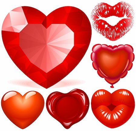 Vector set of Red Hearts Stock Photo - Budget Royalty-Free & Subscription, Code: 400-04747152