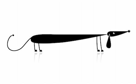 Funny black dachshund silhouette for your design Stock Photo - Budget Royalty-Free & Subscription, Code: 400-04748437
