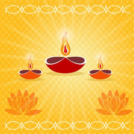 illustration of diwali card decorated with diya Stock Photo - Budget Royalty-Free & Subscription, Code: 400-04748875