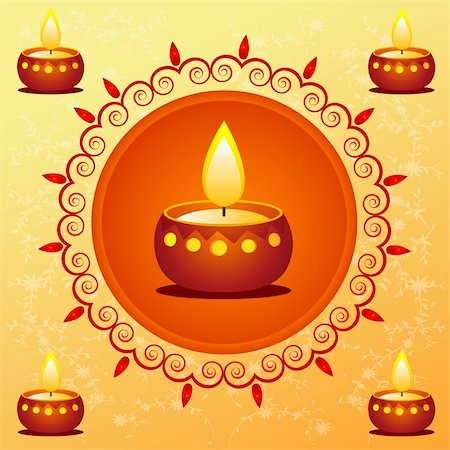 illustration of diwali card decorated with diya Stock Photo - Budget Royalty-Free & Subscription, Code: 400-04748872