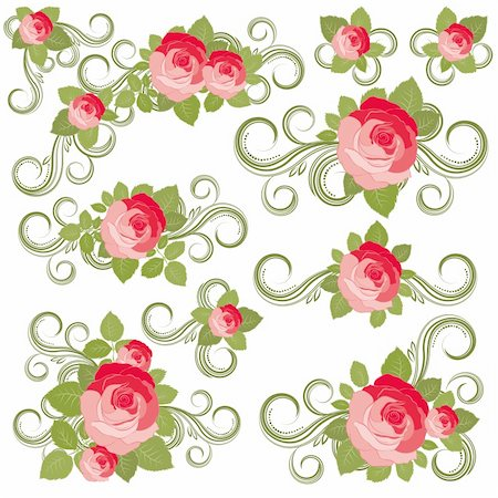 Roses collection, vector illustration - Illustration for your design Stock Photo - Budget Royalty-Free & Subscription, Code: 400-04742184