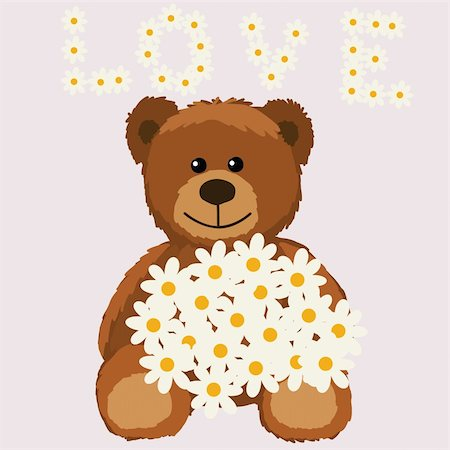 simsearch:400-04598294,k - funny bear with flower Cute little Teddy bear with a bouquet Stock Photo - Budget Royalty-Free & Subscription, Code: 400-04742727