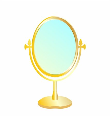 Realistic illustration of gold mirror isolated on white background - vector Stock Photo - Budget Royalty-Free & Subscription, Code: 400-04742754