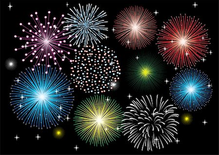 vector fireworks in the dark sky Stock Photo - Budget Royalty-Free & Subscription, Code: 400-04743705