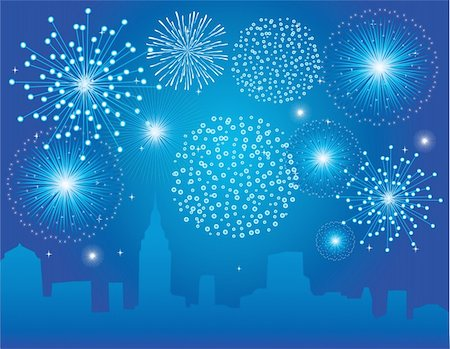 simsearch:400-05266705,k - vector fireworks over city Stock Photo - Budget Royalty-Free & Subscription, Code: 400-04743701