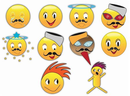 Collection of different emoticons in variety of expressions Stock Photo - Budget Royalty-Free & Subscription, Code: 400-04754536