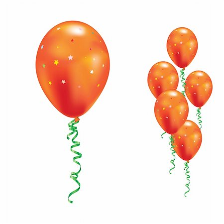 simsearch:400-04369855,k - Orange balloons with stars and ribbons. Vector illustration. Stock Photo - Budget Royalty-Free & Subscription, Code: 400-04754723