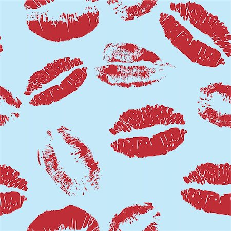 simsearch:400-04801287,k - Seamless kiss vector - lipstick red design elements - change color if you want Stock Photo - Budget Royalty-Free & Subscription, Code: 400-04755351