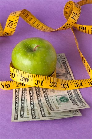 education loan - An apple, tape measure, and American currency represents the concept of measuring the cost of healthcare, food, or education.  Can also work for concept of the cost of healthcare, education or food. Stock Photo - Budget Royalty-Free & Subscription, Code: 400-04758608