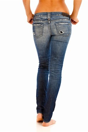 Back side of young woman with bare top wearing worn jeans Stock Photo - Budget Royalty-Free & Subscription, Code: 400-04759978
