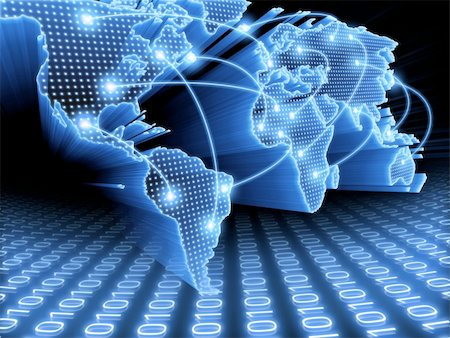 World Map interconnected by wire (Fiber Optics) of the information. Concept of global information and technology of communication. Stock Photo - Budget Royalty-Free & Subscription, Code: 400-04750158