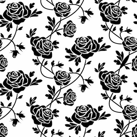 Romantic roses seamless pattern, black flowers at white background, repeating design. Stock Photo - Budget Royalty-Free & Subscription, Code: 400-04750430