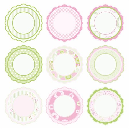 family image and confetti - Set of elements for design. Pink and green Frames. Stock Photo - Budget Royalty-Free & Subscription, Code: 400-04751589