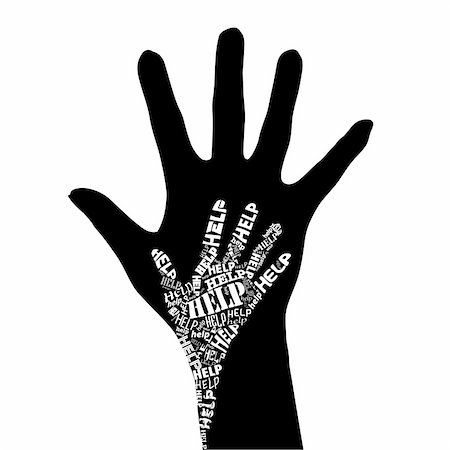 Conceptual black and white vector illustration - Hand of Help. Stock Photo - Budget Royalty-Free & Subscription, Code: 400-04752292
