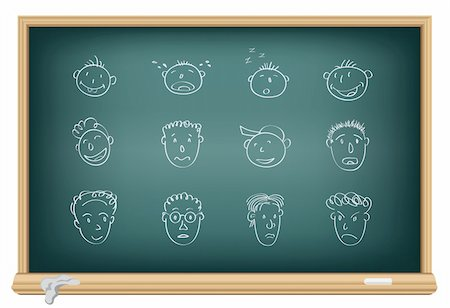 Drawing faces by a chalk on the classroom blackboard Stock Photo - Budget Royalty-Free & Subscription, Code: 400-04752681