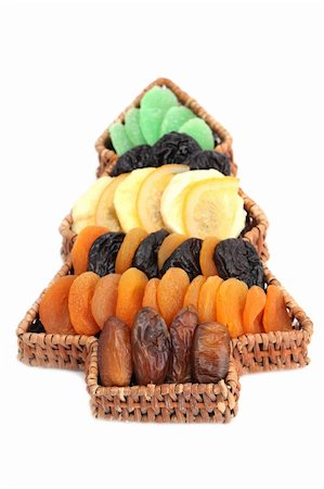 Wicker basket in the shape of Christmas tree with variety of dried fruits isolated on white background. Shallow dof Stock Photo - Budget Royalty-Free & Subscription, Code: 400-04753557