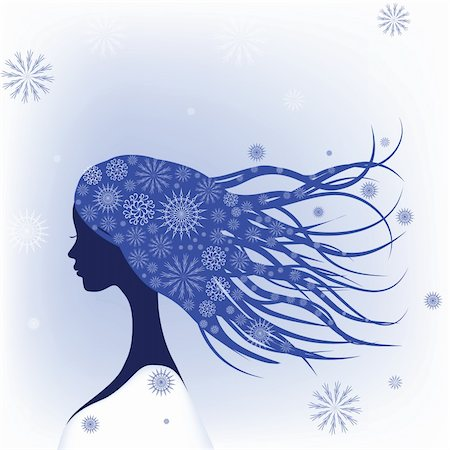 Abstract woman with snowflakes in hair. Vector illustration. Stock Photo - Budget Royalty-Free & Subscription, Code: 400-04764490