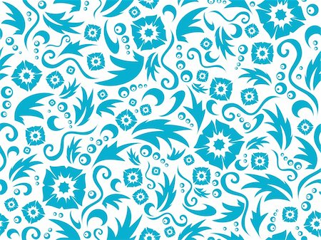 simsearch:400-04765926,k - Vector seamless flower pattern of dark blue colour on a white background Stock Photo - Budget Royalty-Free & Subscription, Code: 400-04765926