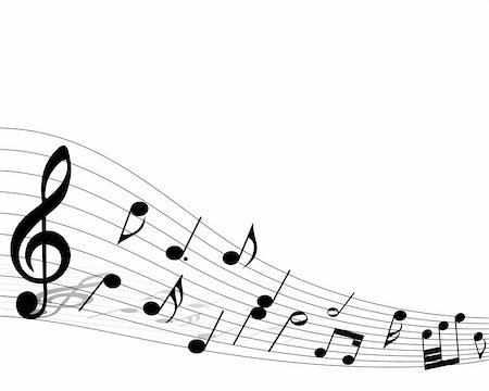 picture of music staff with notes - Vector musical notes staff background for design use Stock Photo - Budget Royalty-Free & Subscription, Code: 400-04766938
