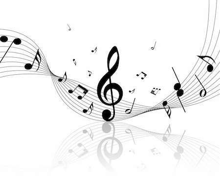 Vector musical notes staff background for design use Stock Photo - Budget Royalty-Free & Subscription, Code: 400-04766939