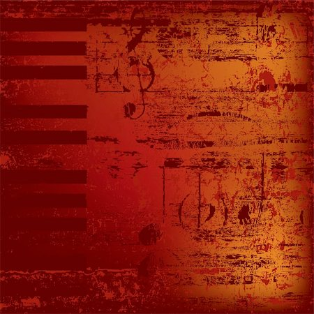 sheet music background - abstract jazz background piano keys on red Stock Photo - Budget Royalty-Free & Subscription, Code: 400-04767338