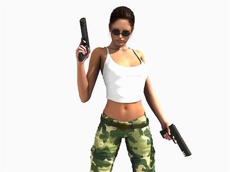 darkgeometry (artist) - 3d illustration of a female soldier holding two guns Stock Photo - Budget Royalty-Free & Subscription, Code: 400-04768621