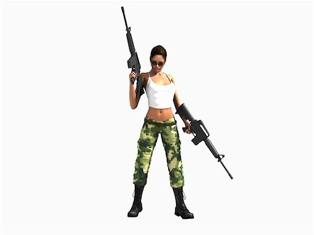 darkgeometry (artist) - 3d illustration of a female soldier holding two guns Stock Photo - Budget Royalty-Free & Subscription, Code: 400-04768622