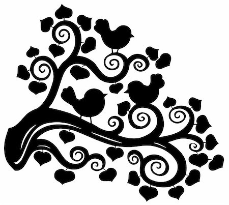Stylized branch silhouette with birds - vector illustration. Stock Photo - Budget Royalty-Free & Subscription, Code: 400-04769349