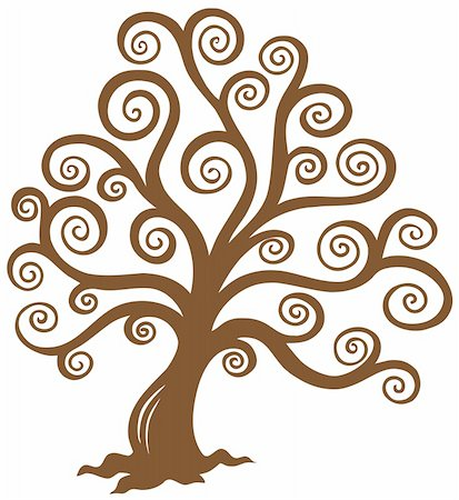 Stylized brown tree silhouette - vector illustration. Stock Photo - Budget Royalty-Free & Subscription, Code: 400-04769350
