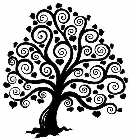 Stylized tree silhouette - vector illustration. Stock Photo - Budget Royalty-Free & Subscription, Code: 400-04769353