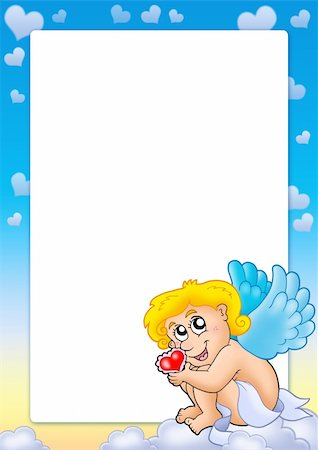 flying hearts clip art - Valentine frame with Cupid 6 - color illustration. Stock Photo - Budget Royalty-Free & Subscription, Code: 400-04769468