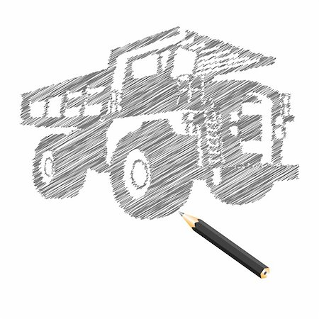 drawn curved - Hand-drown cargo truck sketch, vector illustration Stock Photo - Budget Royalty-Free & Subscription, Code: 400-04761071