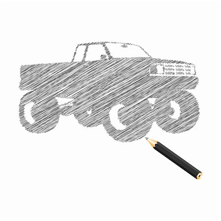 drawn curved - Hand-drown monster truck sketch, vector illustration Stock Photo - Budget Royalty-Free & Subscription, Code: 400-04761072
