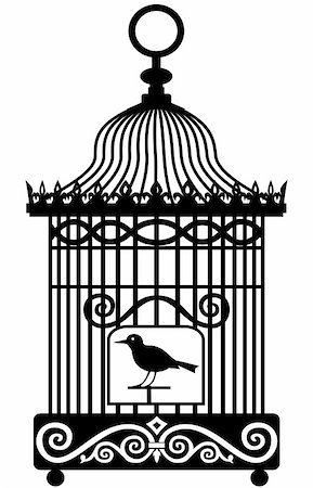 elakwasniewski (artist) - Silhouette of lonely bird in a cage, isolated on white background, full scalable vector graphic included Eps v8 and 300 dpi JPG. Stock Photo - Budget Royalty-Free & Subscription, Code: 400-04761555